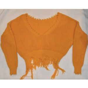 LF Yellow Off the Shoulder Sweater (Size: S)